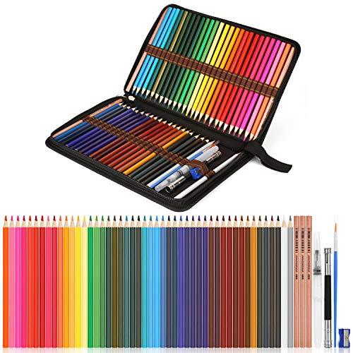 Aquarellstifte, AGPtEK Professionelles Aquarellstift Set mit 48 Buntstiften und Zubehöre, Mehrfarbige Kunst Bleistifte mit Federhalter, Perfekt zum Mischen und Color Layering -