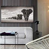 アフリカゾウキャンバス絵画野生動物ポスターとプリント草地象の群れ壁アート写真リビングルームの家の壁の装飾-60x80cm フレームレス