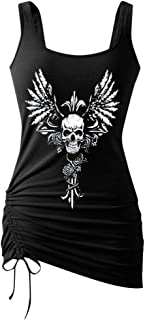 Women Sexy Tank Top, OULSEN Summer Fashion Drawstring Hem Digital Printing Skull Pattern Round Neck Sleeveless Vest Blouse Tops Plus Size T-shirt