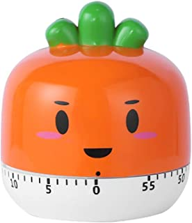Huinsh Timer No Batteries Required 100% Mechanical Cute Kitchen Timer Stainless Steel Precision Life Timer (Carrot Shape)