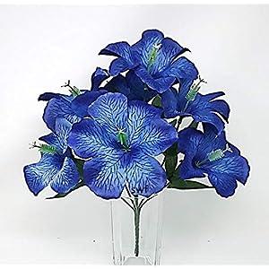12″ Hibiscus Bush Artificial Silk Wedding Bouquet Craft Flowers Home Party Decor 7 Stems