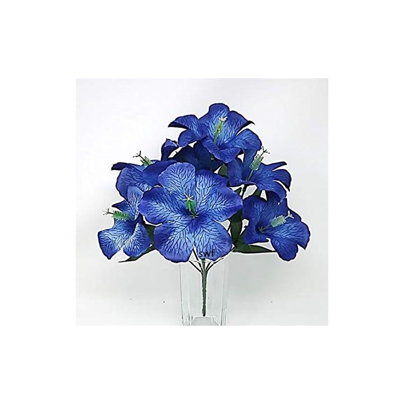 "silk flower arrangements 12"" hibiscus bush artificial silk wedding bouquet craft flowers home party decor 7 stems"