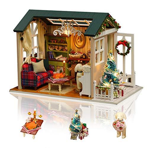 none-branded DIY Miniatur-Puppenhaus Kit zum Bau handgefertigter Mini-Raum mit Musik und Möbeln für Dekoration Kreative Handarbeiten Geschenke für Frauen (Urlaubszeit)