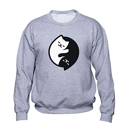 EUGINE DREAM Yin and Yang Sweatshirt Yin and Yang Cats Pullover Cute Kitty Sweater Tai Chi Symbol Womens Mens Unisex Sudadera Gris 4XL