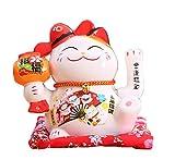 Maneki Neko à Bras Mobile- Chat Chinois Porte Bonheur en Porcelaine-Feng Shui Porte Dore,Blanc L16*W14*H16cm, C