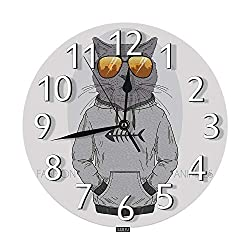 SSOIU Fashion Cat Wall Clock,Dressed up Kitten Funny Animal Kitty Cool Guy Sunglasses Gray Cartoon Silent Non-Ticking Round Wall Clock Battery Operated for Home Office School Decorative Clock Art