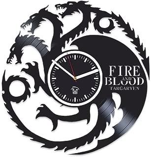 Kovides Mother of Dragons, Daenerys Targaryen, Vinyl Wall Clock Game of Thrones, for Boy, Wall Clock Large, Vinyl Wall Clock Silent, Jon Snow, Vinyl Record, Best Gift for Her