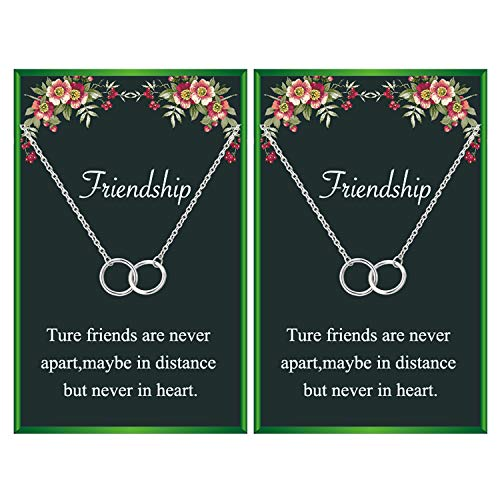 Friendship Necklace for 2 Best Friend Necklace Two Interlocking Infinity Double Circles Pendant Necklace for Friends (2 silver circle necklace)