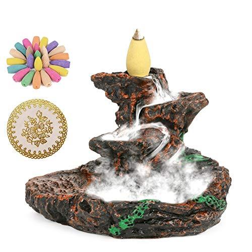 CestMall Quemador de Incienso de reflujo con 50 Piezas de Cono de Incienso de reflujo, con Forma de Cascada Quemador de Incienso con Quemador y Soporte de Torre para aromaterapia de Yoga en el hogar