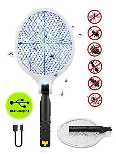 JOLVVN Elektrische Fliegenklatsche Zusammenklappbare Fliegenfänger Fliegenklatschen, Moskito Insektenvernichter mit LED-Beleuchtung USB wiederaufladbare Schädlingsbekämpfung