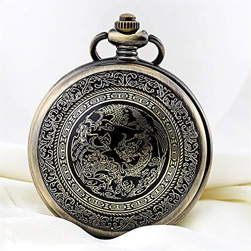 ZHJBD JIAN Pocket Watch, Reloj De Bolsillo De Los Hombres Retros De Los Estudiantes Electrónicos De Mesa Flip Zodiaco Dragón Reloj De Cuarzo De Reloj del Collar Reloj De Bolsillo Viejo