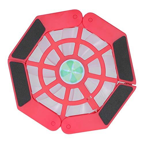 Enfriador para computadora portátil, Almohadilla para Enfriar computadora portátil, con Soporte Plegable USB para computadora portátil con Ventilador Grande y Luminoso(Rojo)
