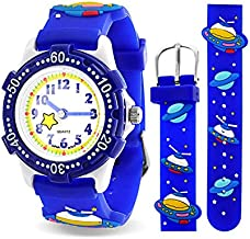 Celestial Planet and Space Waterproof Wrist Watch Time Teacher Quartz Cartoon Blue Silicone Wristband Round Dial