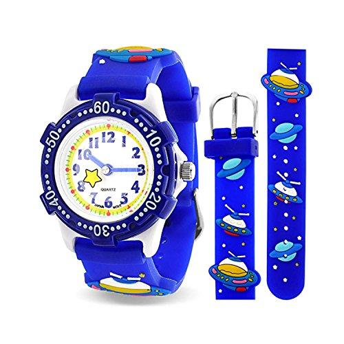 Bling Jewelry Soucoupe Volante Vaisseau Spatial Astronaute Montre-Bracelet Étanche Enseignant Dessin Animé Silicone Bleu Cadran Rond