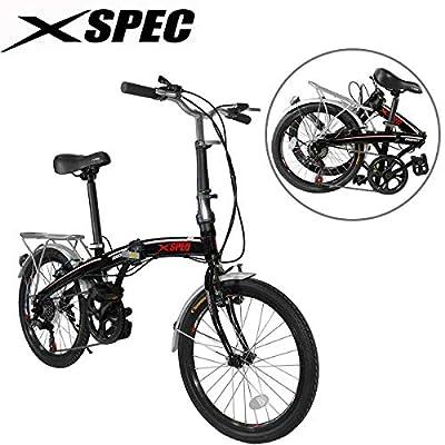 "Xspec 20"" 7 Speed City Folding Mini Compact Bike Bicycle Urban Commuter, Black"