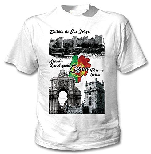 teesquare1st Lisbon Portugal Camiseta Blanca para Hombre de Algodon