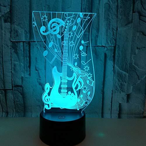XinMeiMaoYi Lámpara LED de guitarra colorida gradiente 3D estereoscópica táctil remoto USB luz nocturna mesilla de noche escritorio imaginativamente decorado regalo de cumpleaños 20 x 13 cm
