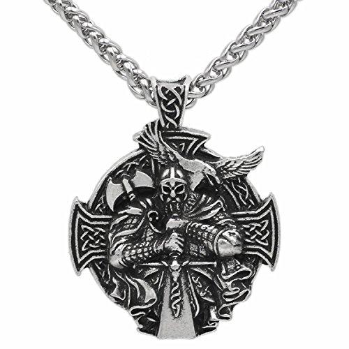 Colgante en 3D con diseño nórdico pagano de cruz celta, guerrero vikingo con espada y hacha y cuervo, colgante protector, incluye cadena de acero inoxidable