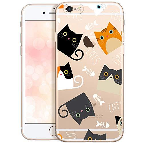 QULT Carcasa para Móvil Compatible con iPhone 6 Plus iPhone 6s Plus Funda Transparente con Animales Slim Transparent Silicona Suave Case con Dibujo Cats