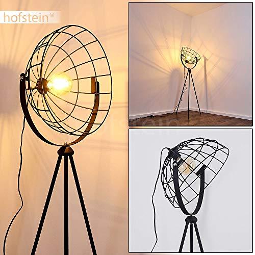 Vloerlamp Flambeau vintage vloerlamp van metaal in zwart met lichteffect 1 x E27 fitting max. 60 Watt lamp met rasteroptiek in retro-design met voetschakelaar op de kabel LED geschikt