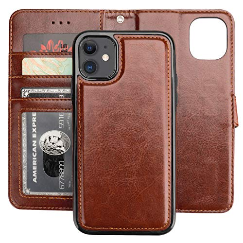 Bocasal iPhone 11 Wallet Case with Card Holder PU Leather Magnetic Detachable Kickstand Shockproof Wrist Strap Removable Flip Cover for iPhone 11 6.1 inch (Brown)