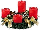 Britesta Adventskranz LED Lichter: Adventskranz mit roten LED-Kerzen, goldfarben geschmückt (Adventskranz mit LED-Beleuchtung)