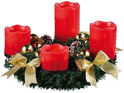 Britesta Adventkranz: Adventskranz mit roten LED-Kerzen, goldfarben geschmückt (Adventskranz mit LED-Beleuchtung)