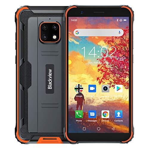 Blackview BV4900 Outdoor Smartphone ohne Vertrag Android 10,0 Dual-SIM-Karte 4G Handy 5.5 Zoll HD Display, 5580mAh Akku, 3GB RAM +32GB ROM 128GB Erweiterbar 8MP Hintere Dreifachkamera NFC,Face ID,GPS