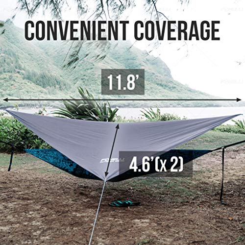 Product Image 1: Foxelli Rain Tarp – Lightweight, Portable, Waterproof 12′ Camping Tarp, Easy Set Up with Included Extra Long Guy Lines & Stakes – Perfect Rain Fly for Hammock