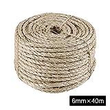 IZSUZEE Cuerda de Sisal, Cuerda de 6mm (40m), Adecuada para Rascador para Gatos, Juguete Gato y Arbol para Gatos. También Apto para Jardin, Jardineria y DIY.