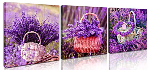 Wall-Art For Living Room - Purple Bathroom Accessories - Bedroom Decor For Teen Girls - Lavender Wall Art In Flower Basket 3 Piece Canvas Wall Art Framed Ready to Hang Wall Art Size 14x14 Each Panel