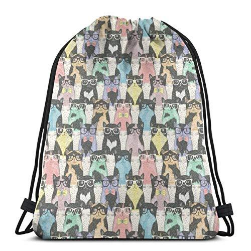 Lindo perro perro carlino mochila cinch poliéster a granel bolsas de cuerda impermeable para deportes, gimnasio, yoga, natación, viajes