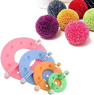 XIANGMENG Kit de artesanato de tricô com pompom de 4 peças em diferentes tamanhos, ferramenta para fazer bolas de pelúcia