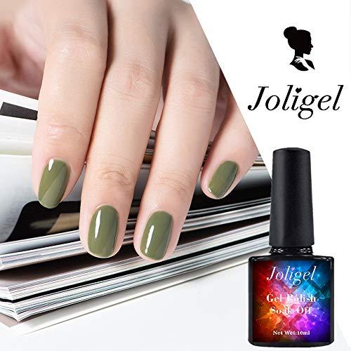 Joligel Gel Nail Polish Semipermanent UV LED Gel Polish for Nails Gellack, Soft Olive Green, 10ML