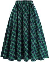 A-Line Retro Skirt for Women Grid Pattern Plaid Size S KK633-1