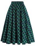 Women's Plaid Midi Skirt A-Line 50s Vintage Style Size XL KK633-1