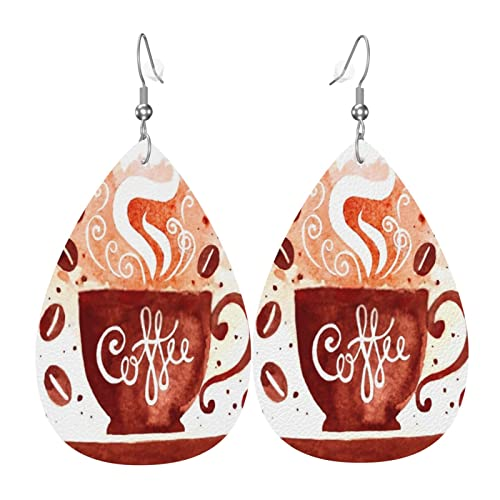 Wasserfarben-Kaffeetassen-Ohrringe, Wassertropfen-Ohrringe, Leder, Ohrschmuck, Dekoration, Ohrschmuck, Ornament für Damen