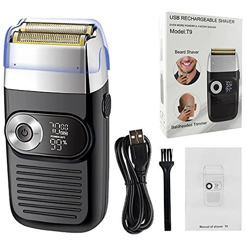 Afeitadora eléctrica con, cuidado del cabello/peinado silencioso, afeitadora eléctrica con batería de 1400 mAh recargable para hombres, kit de aseo de barba corporal para hombres y viajes en casa