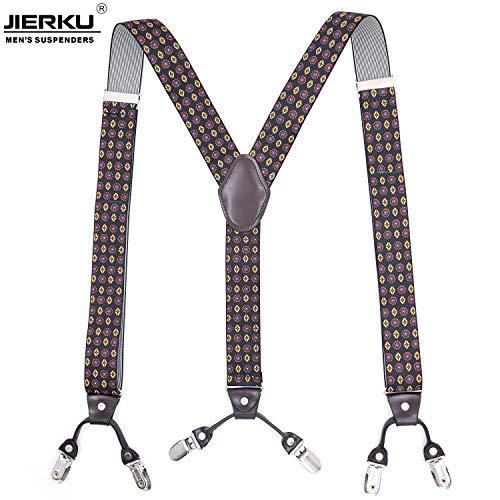 LLZGPZBD bretels voor volwassenen, 6 clip-druk, heren, gouden ronde broek, hangende riem