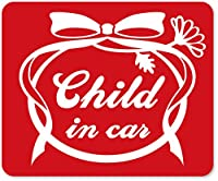 imoninn CHILD in car ステッカー 【マグネットタイプ】 No.29 お花リボン (赤色)