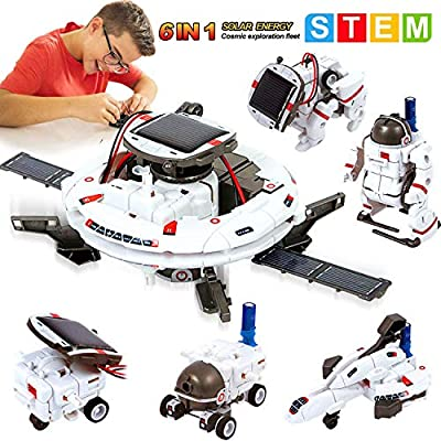 MAN NUO STEM Solar Robot Toys 6 in 1 Educational Science Experiment Kit Toys Science Building Set Gifts for Kids Aged 8 9 10-12 Boys Girls DIY Assembly Kit with Solar Powered