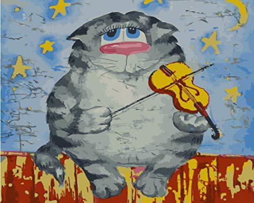 DIRART Rahmenlos DIY Digitale Malerei Katzenspiel Paino Ölgemälde Durch Zahlen Malen Nach Zahl Für Hauptdekoröl-Bildanstrich 40X50Cm