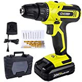 CACOOP 20V Cordless Drill Driver Kit, Power Drill, w/ 2000mAh Battery, 310 in-lbs Torque, 25+1 Positions, Fast Charger, Built-in LED, 2 Variable Speed, Drills Bits Set for Drilling Wall Floor Metal