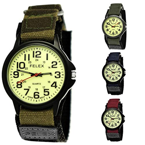 NY London Camouflage Kinder-Uhr Jungen-Uhr Mädchen-Uhr leuchtendes Ziffernblatt Kinder Analog Textil Nylon Armband-Uhr Schwarz Rot Blau Japanisches Qualitäts Uhrwerk (Grün-Tarn.NY)