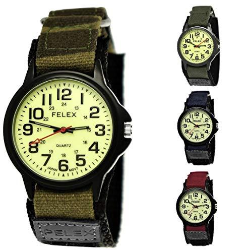 NY London Camouflage Kinder-Uhr Jungen-Uhr Mädchen-Uhr leuchtendes Ziffernblatt Kinder Analog Textil Nylon Armband-Uhr Schwarz Rot Blau Japanisches Qualitäts Uhrwerk (Camo-Tarn-Schwarz)