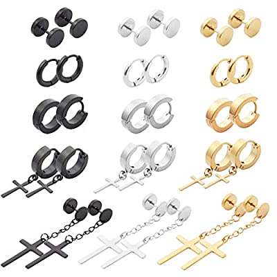 NEWITIN 15 Pairs Stainless Steel Cross Earrings Hinged Earrings Cross Dangle Hoop Cross Earrings for Men and Women