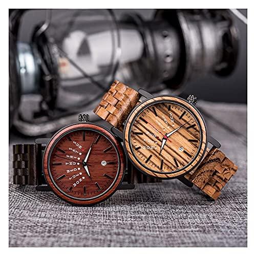2PCS Reloj de pareja, madera preciosa hecha a mano, reloj de madera luminoso del calendario de la semana, movimiento japonés, reloj de madera de cebra, relojes para hombres y mujeres, prueba de amor