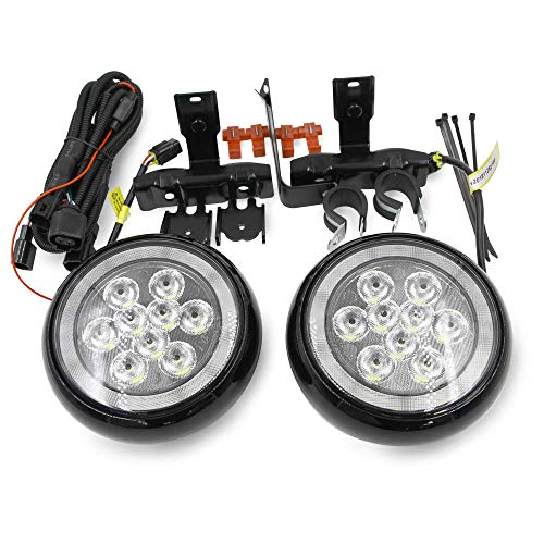 F60 Countryman LED Rally DRL Driving Light for 2017-2020 Mini Cooper Countryman F60 Led Daytime Running Light Black Shell Fog Lamps with Halo Ring