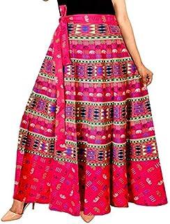 Radhika Taxtiles Women's Cotton Jaipuri Rajsthani Wrap-Around Long Skirt with Printed (Multicolour, Free Size) RT_GPS_266