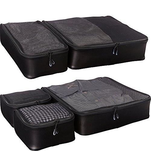 eBags Hyper-Lite Travel Packing Cubes - Lightweight Organizers - Super Packer 5pc Set - (Black)